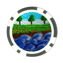 Beaded Landscape Textured Abstract Landscape With Sea Waves In The Foreground And Trees In The Background Poker Chip Card Guard (10 Pack)