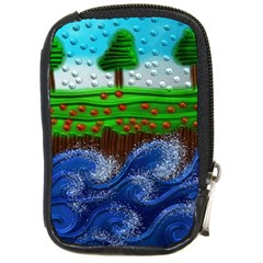 Beaded Landscape Textured Abstract Landscape With Sea Waves In The Foreground And Trees In The Background Compact Camera Cases