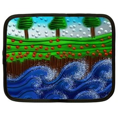 Beaded Landscape Textured Abstract Landscape With Sea Waves In The Foreground And Trees In The Background Netbook Case (xxl)