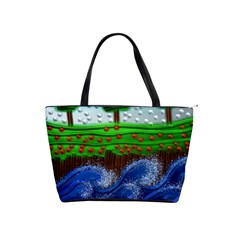 Beaded Landscape Textured Abstract Landscape With Sea Waves In The Foreground And Trees In The Background Shoulder Handbags