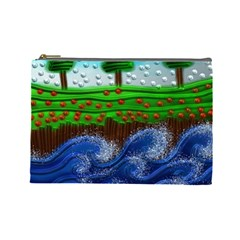 Beaded Landscape Textured Abstract Landscape With Sea Waves In The Foreground And Trees In The Background Cosmetic Bag (large)