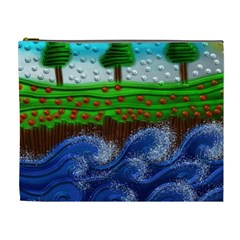 Beaded Landscape Textured Abstract Landscape With Sea Waves In The Foreground And Trees In The Background Cosmetic Bag (XL)