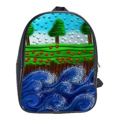 Beaded Landscape Textured Abstract Landscape With Sea Waves In The Foreground And Trees In The Background School Bags(Large)