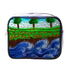 Beaded Landscape Textured Abstract Landscape With Sea Waves In The Foreground And Trees In The Background Mini Toiletries Bags
