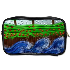 Beaded Landscape Textured Abstract Landscape With Sea Waves In The Foreground And Trees In The Background Toiletries Bags