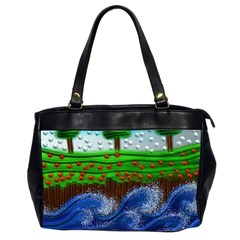Beaded Landscape Textured Abstract Landscape With Sea Waves In The Foreground And Trees In The Background Office Handbags (2 Sides)
