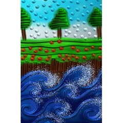 Beaded Landscape Textured Abstract Landscape With Sea Waves In The Foreground And Trees In The Background 5.5  x 8.5  Notebooks