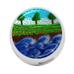 Beaded Landscape Textured Abstract Landscape With Sea Waves In The Foreground And Trees In The Background 4-Port USB Hub (One Side)