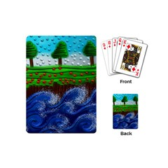 Beaded Landscape Textured Abstract Landscape With Sea Waves In The Foreground And Trees In The Background Playing Cards (Mini)