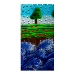 Beaded Landscape Textured Abstract Landscape With Sea Waves In The Foreground And Trees In The Background Shower Curtain 36  X 72  (stall)