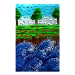 Beaded Landscape Textured Abstract Landscape With Sea Waves In The Foreground And Trees In The Background Shower Curtain 48  x 72  (Small)