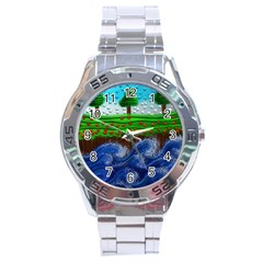 Beaded Landscape Textured Abstract Landscape With Sea Waves In The Foreground And Trees In The Background Stainless Steel Analogue Watch