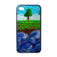 Beaded Landscape Textured Abstract Landscape With Sea Waves In The Foreground And Trees In The Background Apple iPhone 4 Case (Black)
