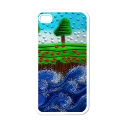 Beaded Landscape Textured Abstract Landscape With Sea Waves In The Foreground And Trees In The Background Apple iPhone 4 Case (White)