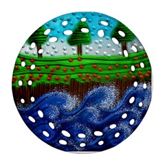 Beaded Landscape Textured Abstract Landscape With Sea Waves In The Foreground And Trees In The Background Round Filigree Ornament (Two Sides)