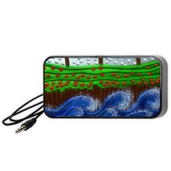 Beaded Landscape Textured Abstract Landscape With Sea Waves In The Foreground And Trees In The Background Portable Speaker (Black)
