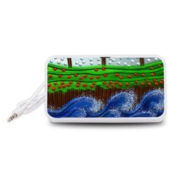 Beaded Landscape Textured Abstract Landscape With Sea Waves In The Foreground And Trees In The Background Portable Speaker (White)