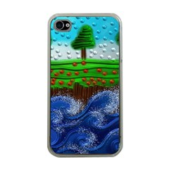 Beaded Landscape Textured Abstract Landscape With Sea Waves In The Foreground And Trees In The Background Apple iPhone 4 Case (Clear)