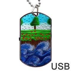 Beaded Landscape Textured Abstract Landscape With Sea Waves In The Foreground And Trees In The Background Dog Tag USB Flash (Two Sides)