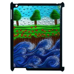 Beaded Landscape Textured Abstract Landscape With Sea Waves In The Foreground And Trees In The Background Apple iPad 2 Case (Black)