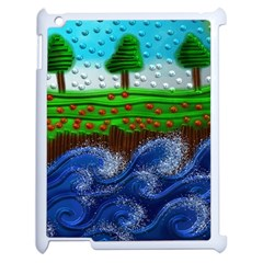 Beaded Landscape Textured Abstract Landscape With Sea Waves In The Foreground And Trees In The Background Apple Ipad 2 Case (white)