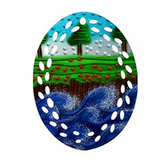 Beaded Landscape Textured Abstract Landscape With Sea Waves In The Foreground And Trees In The Background Oval Filigree Ornament (Two Sides)