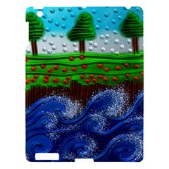 Beaded Landscape Textured Abstract Landscape With Sea Waves In The Foreground And Trees In The Background Apple Ipad 3/4 Hardshell Case