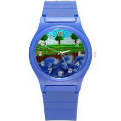 Beaded Landscape Textured Abstract Landscape With Sea Waves In The Foreground And Trees In The Background Round Plastic Sport Watch (s)