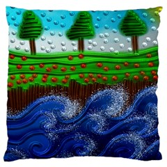 Beaded Landscape Textured Abstract Landscape With Sea Waves In The Foreground And Trees In The Background Large Cushion Case (one Side)