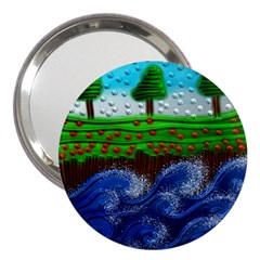 Beaded Landscape Textured Abstract Landscape With Sea Waves In The Foreground And Trees In The Background 3  Handbag Mirrors