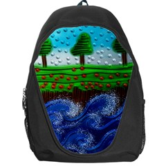 Beaded Landscape Textured Abstract Landscape With Sea Waves In The Foreground And Trees In The Background Backpack Bag