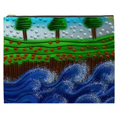 Beaded Landscape Textured Abstract Landscape With Sea Waves In The Foreground And Trees In The Background Cosmetic Bag (XXXL)