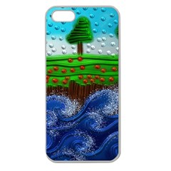 Beaded Landscape Textured Abstract Landscape With Sea Waves In The Foreground And Trees In The Background Apple Seamless iPhone 5 Case (Clear)