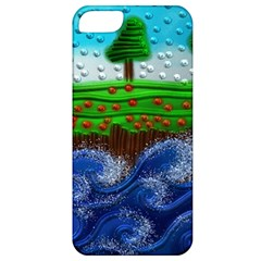 Beaded Landscape Textured Abstract Landscape With Sea Waves In The Foreground And Trees In The Background Apple iPhone 5 Classic Hardshell Case