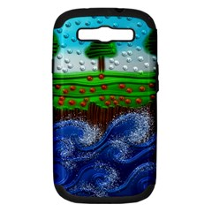 Beaded Landscape Textured Abstract Landscape With Sea Waves In The Foreground And Trees In The Background Samsung Galaxy S III Hardshell Case (PC+Silicone)