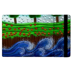 Beaded Landscape Textured Abstract Landscape With Sea Waves In The Foreground And Trees In The Background Apple Ipad 2 Flip Case