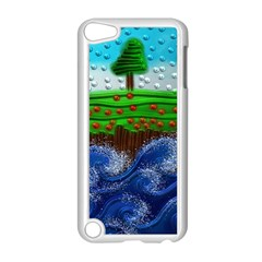 Beaded Landscape Textured Abstract Landscape With Sea Waves In The Foreground And Trees In The Background Apple iPod Touch 5 Case (White)