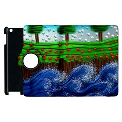 Beaded Landscape Textured Abstract Landscape With Sea Waves In The Foreground And Trees In The Background Apple iPad 3/4 Flip 360 Case