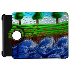 Beaded Landscape Textured Abstract Landscape With Sea Waves In The Foreground And Trees In The Background Kindle Fire Hd 7