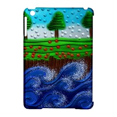 Beaded Landscape Textured Abstract Landscape With Sea Waves In The Foreground And Trees In The Background Apple iPad Mini Hardshell Case (Compatible with Smart Cover)
