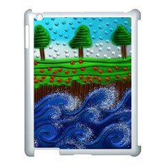 Beaded Landscape Textured Abstract Landscape With Sea Waves In The Foreground And Trees In The Background Apple Ipad 3/4 Case (white)