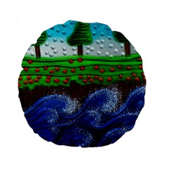 Beaded Landscape Textured Abstract Landscape With Sea Waves In The Foreground And Trees In The Background Standard 15  Premium Round Cushions