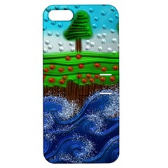 Beaded Landscape Textured Abstract Landscape With Sea Waves In The Foreground And Trees In The Background Apple iPhone 5 Hardshell Case with Stand
