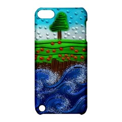 Beaded Landscape Textured Abstract Landscape With Sea Waves In The Foreground And Trees In The Background Apple Ipod Touch 5 Hardshell Case With Stand