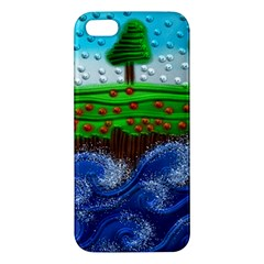 Beaded Landscape Textured Abstract Landscape With Sea Waves In The Foreground And Trees In The Background Apple Iphone 5 Premium Hardshell Case