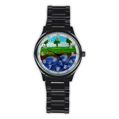 Beaded Landscape Textured Abstract Landscape With Sea Waves In The Foreground And Trees In The Background Stainless Steel Round Watch