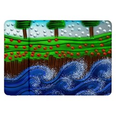 Beaded Landscape Textured Abstract Landscape With Sea Waves In The Foreground And Trees In The Background Samsung Galaxy Tab 8.9  P7300 Flip Case
