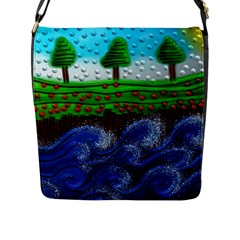Beaded Landscape Textured Abstract Landscape With Sea Waves In The Foreground And Trees In The Background Flap Messenger Bag (l)