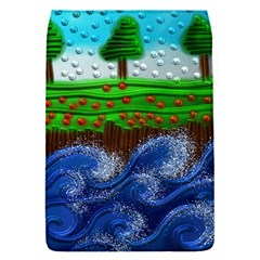 Beaded Landscape Textured Abstract Landscape With Sea Waves In The Foreground And Trees In The Background Flap Covers (s)