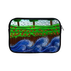 Beaded Landscape Textured Abstract Landscape With Sea Waves In The Foreground And Trees In The Background Apple iPad Mini Zipper Cases
